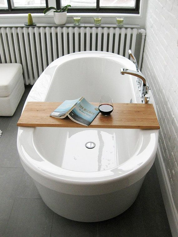 Wood Bath/tub caddy/platter/tray of salvaged wood spa natural ...