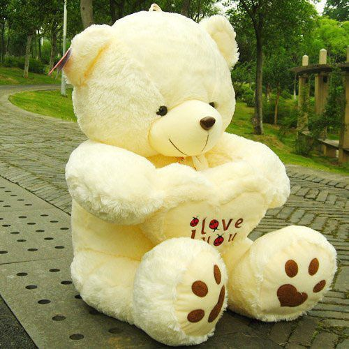 Huge Beige 100 Cotton Plush Teddy Bear Soft Giant For Valentine Day