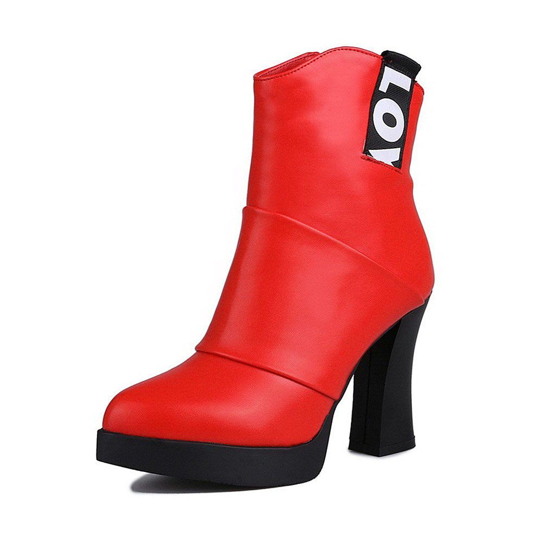 Women's PU Blend Materials Closed-toe Low-Top High-heels Boots