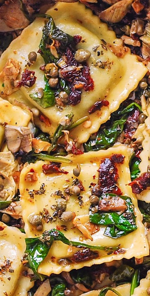 Photo of Italian Ravioli with Spinach, Artichokes, Capers, Sun-Dried Tomatoes