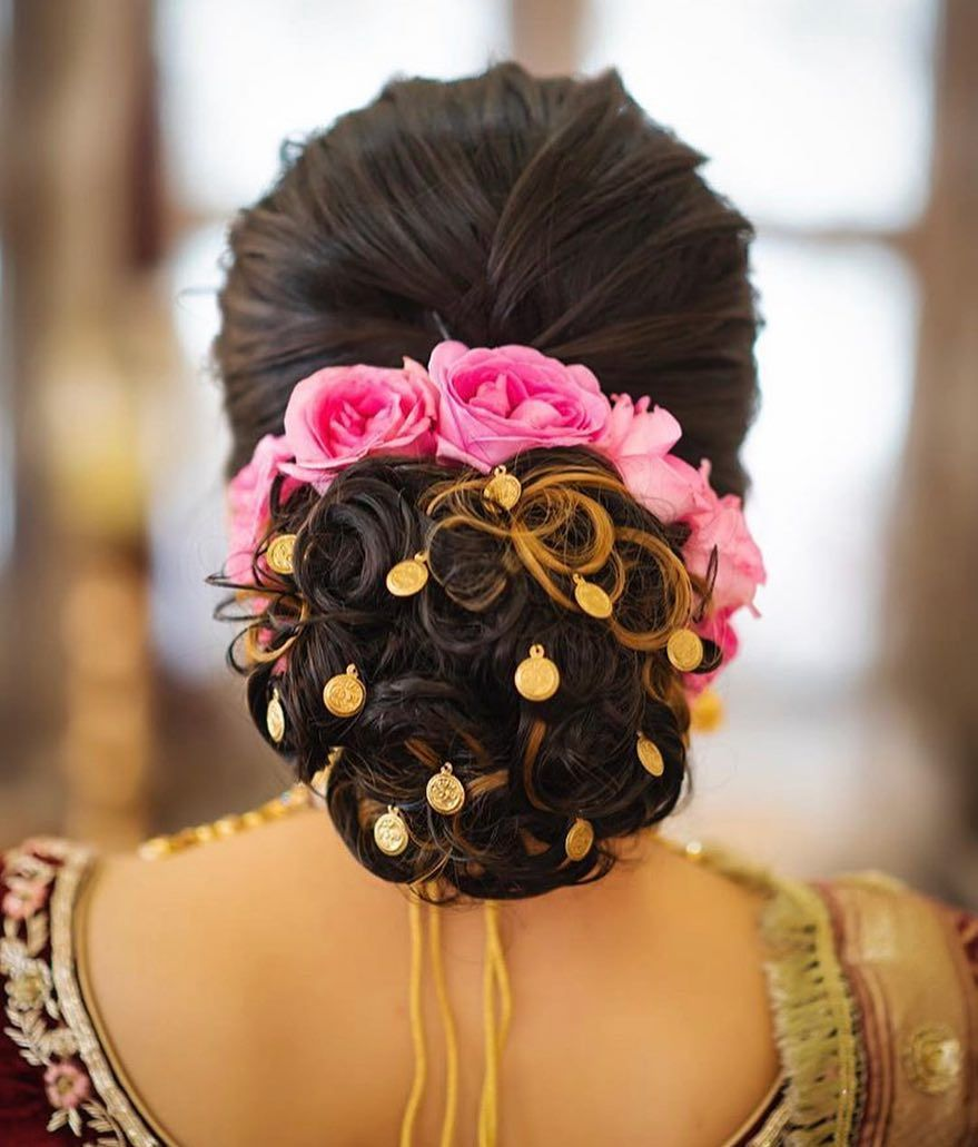 Bold Bridal Bun With Pink Roses Best Bridal Makeup Bridal Bun Bridal Hairstyle Indian Wedding