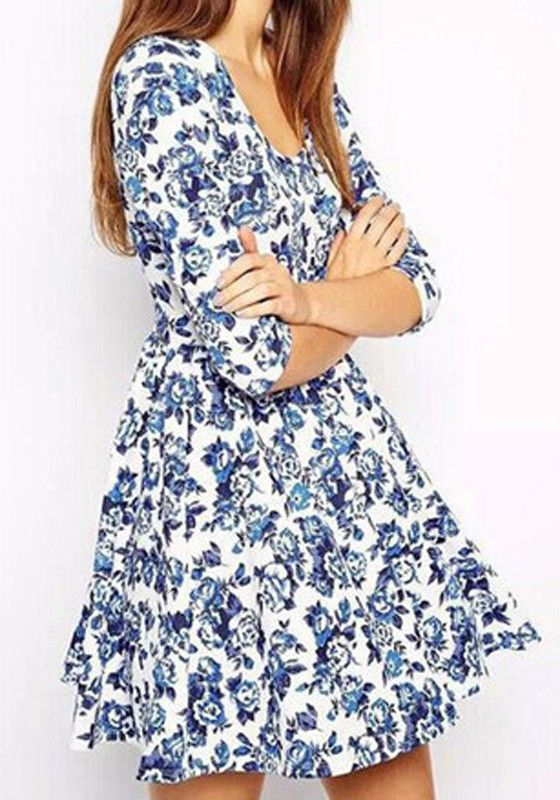 Blue Floral Pleated Round Neck Elegant Polyester Mini Dress