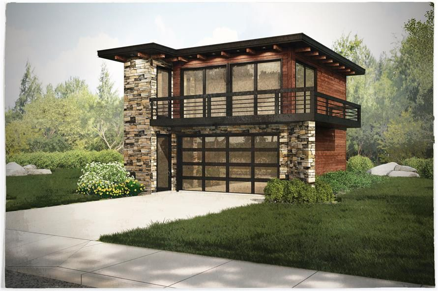 Contemporary Garage W Apartments Modern House Plans Home Design