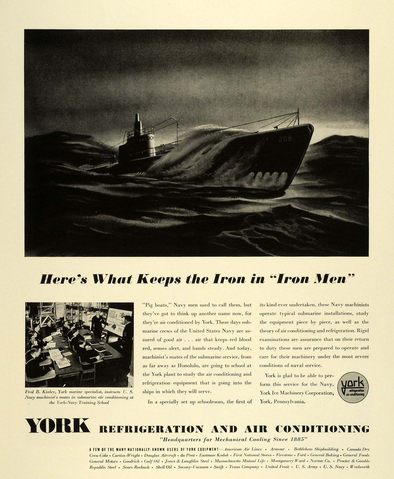 1941 Ad York Ice Machinery Corp Logo Air Conditioning Navy