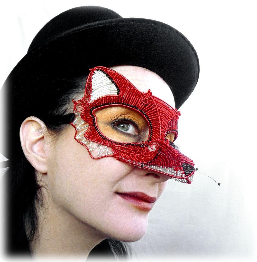 Handmade Red Fox Mask, Costume, Masquerade Costumes