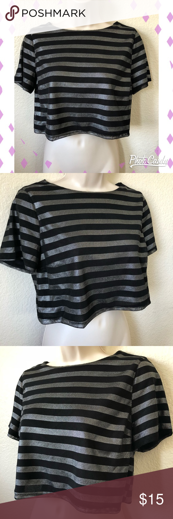 2208157eefb Metallic boxy crop top! Awesome crop top, black and silver striped with boxy  fit.. only worn once so in like-new condition! Size small by BCNU BCNU Tops  ...