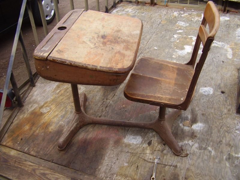 my parents bought one like this when the school was selling off old desks,one  of my sisters still has it repainted shabby chic style! - Vintage American Seating Co. School Desk With Inkwell Rememories