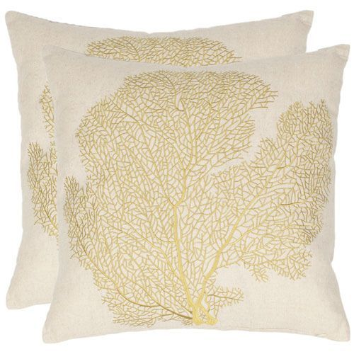 Robin 18 Inch Beach Lime Decorative Pillows, Set Of 2 Safavieh Home Furniture Accent Pillo