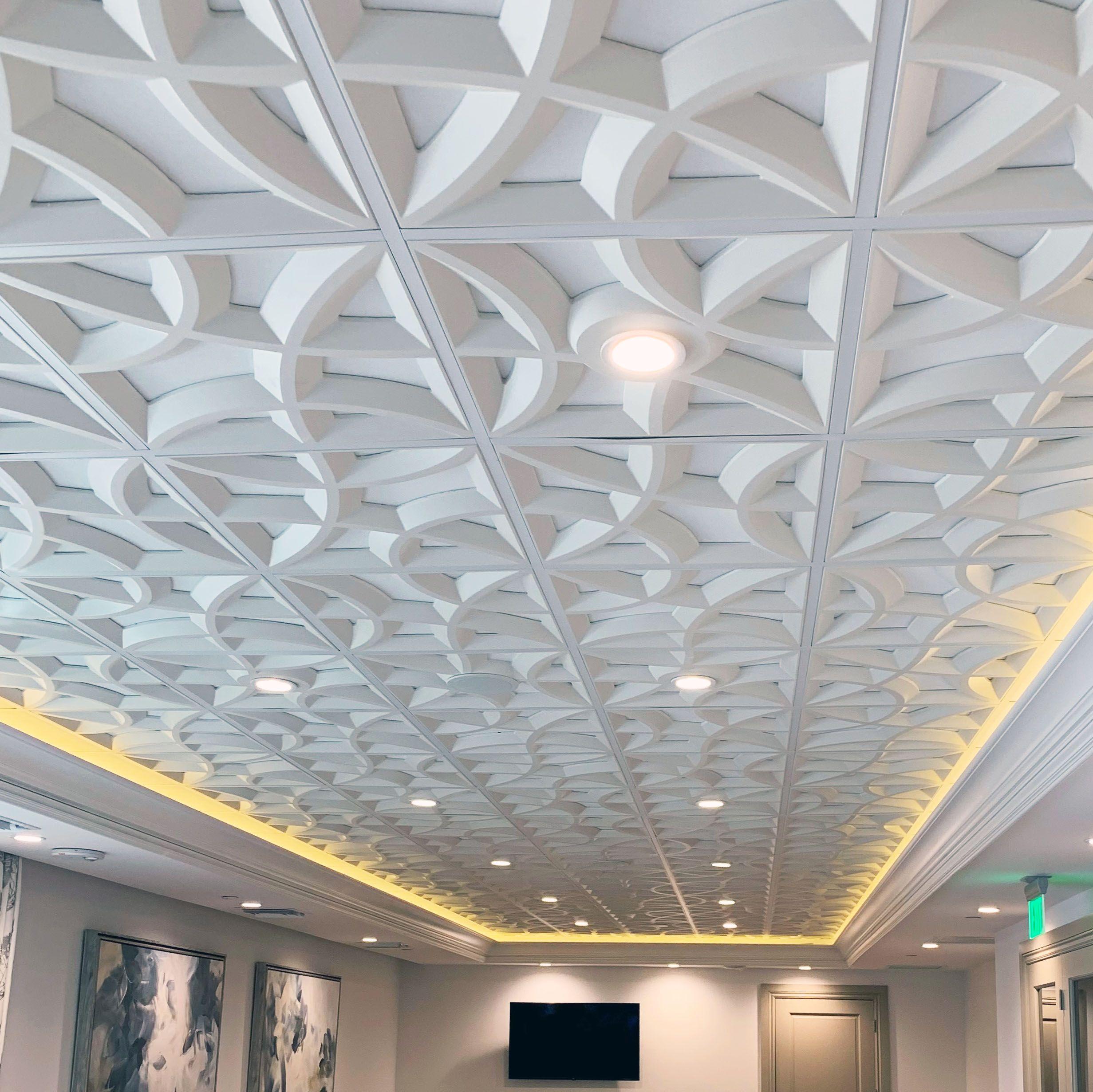 Crescent Path Acoustic Ceiling Tile Sound Reducing Decorative Plaster Ceiling Tile In 2020 Acoustic Ceiling Tiles Contemporary Ceiling Tile Acoustical Ceiling