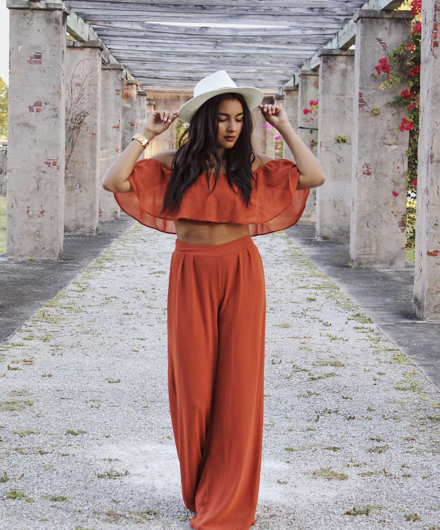 c8b623ad45 Low Rider Pant Set - Rust. May 2019. Available in Ivory, Dusty Pink, Rust, Black  Off Shoulder Crop Top Wide Leg ...