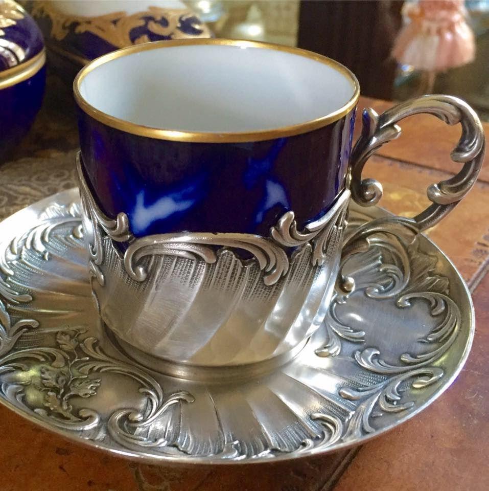 Taza Art Nouveau Porcelana Y Metal Plateado Gallia Alfenide C1896  ~ Tazas Para Infusiones El Corte Ingles