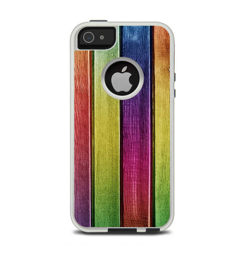 The Colorful Vivid Wood Planks Apple iPhone 5-5s Otterbox Commuter Case Skin Set