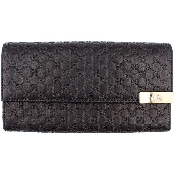 Pre-owned Gucci Micro Guccissima Black Leather Snap Wallet ($165) ❤ liked on Polyvore featuring bags, wallets, leather bags, black leather wallet, hardware bag, genuine leather bag and snap close wallet