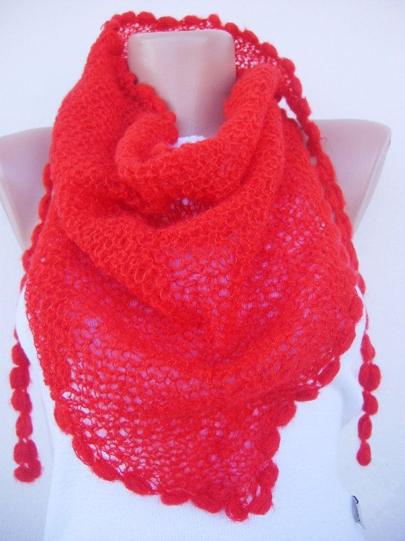 Red little shawl  Free Shipping by noyumberry on Etsy, $24.00