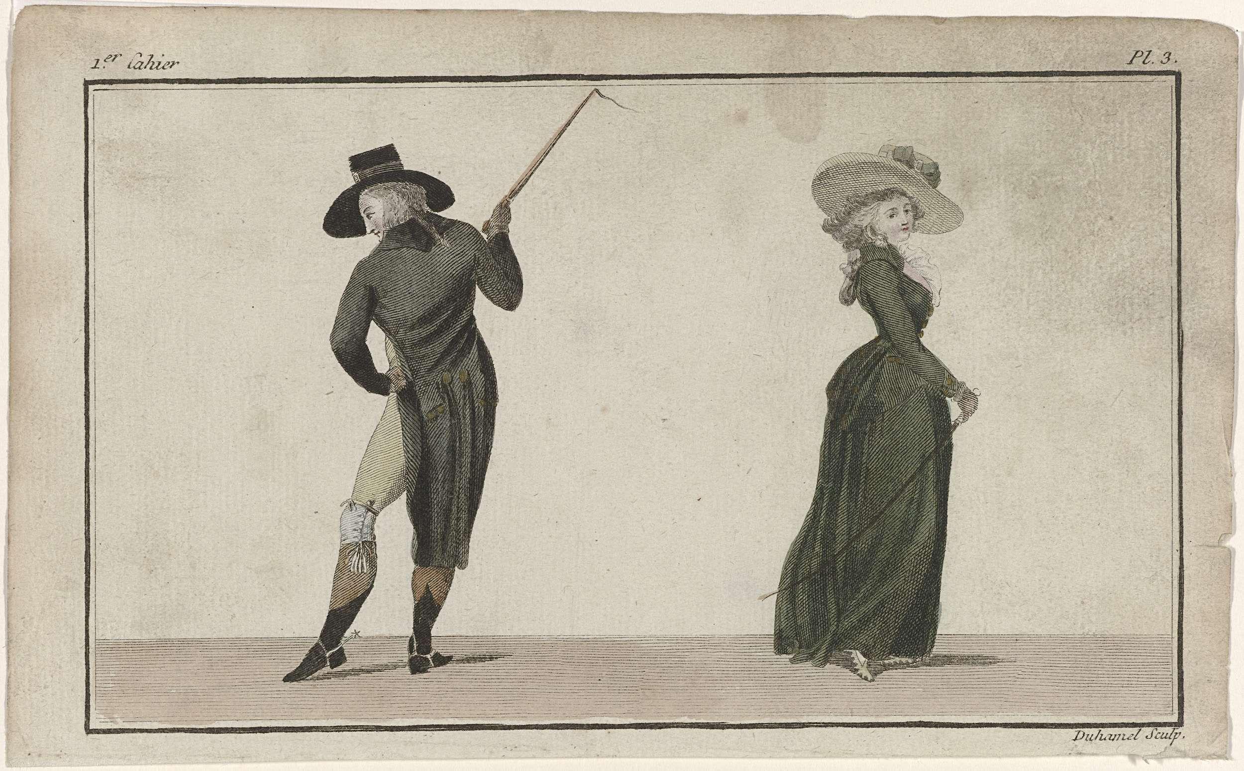 A.B. Duhamel | Magasin des Modes Nouvelles Françaises et Anglaises, 20 novembre 1786, Pl.  3, A.B. Duhamel, Claude Louis Desrais, Buisson, 1786 | Staande man en lopende vrouw, op de rug gezien, beiden gekleed in een rijkostuum. Hij draagt een zwarte habit, vest en kniebroek. Accessoires: hoed, handschoenen, zweep en laarzen met sporen. Zij draagt een caraco op een rok van laken, op de rug geplooid. Om de hals een fichu. Accessoires: hoed met brede rand, handschoenen, zweep en schoenen. De…