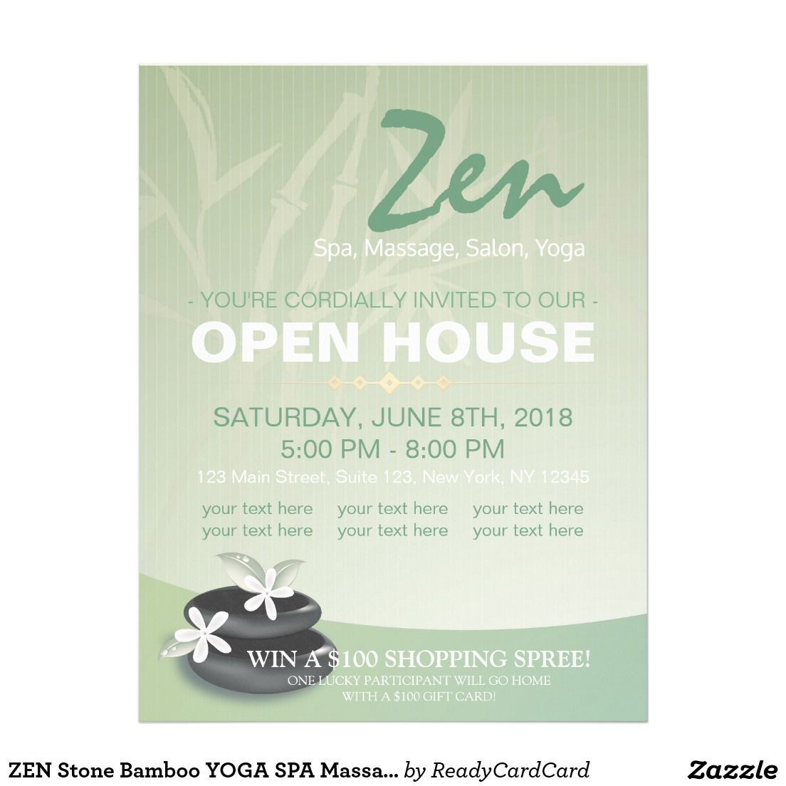 ZEN Stone Bamboo YOGA SPA Massage Salon Open House Flyer | Open ...