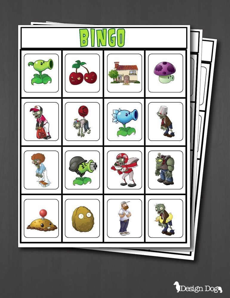 Plants Vs Zombies Bingo Game Printable Set Of 14