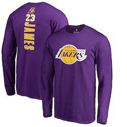 74e1a5cc9 Men s Los Angeles Lakers LeBron James Fanatics Branded Purple Backer Name    Number Long Sleeve T-Shirt
