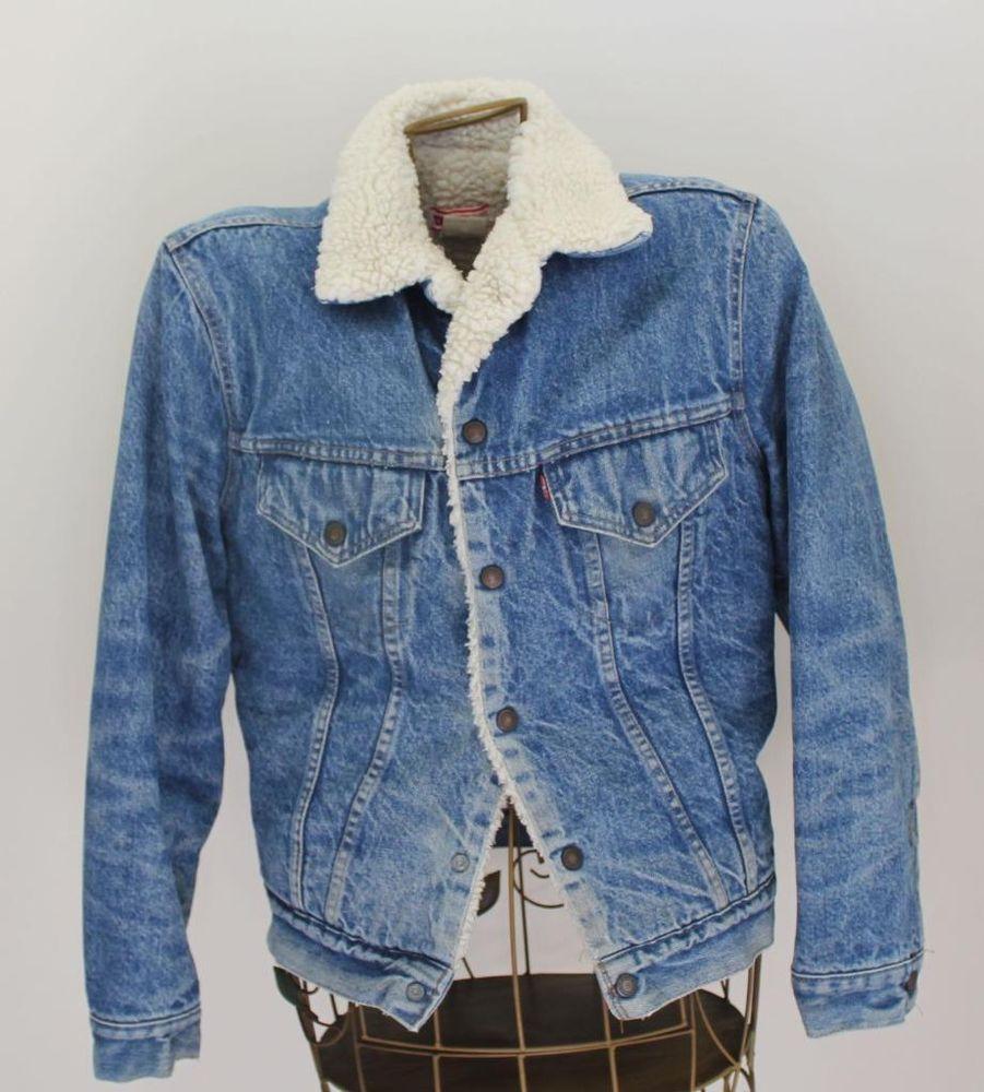 Levis Denim Jacket Blue Jean Size 38 Distressed Faux Shearling Lining Denim Coat Jacket Levi Denim Jacket Big Tall Jeans [ 1000 x 901 Pixel ]