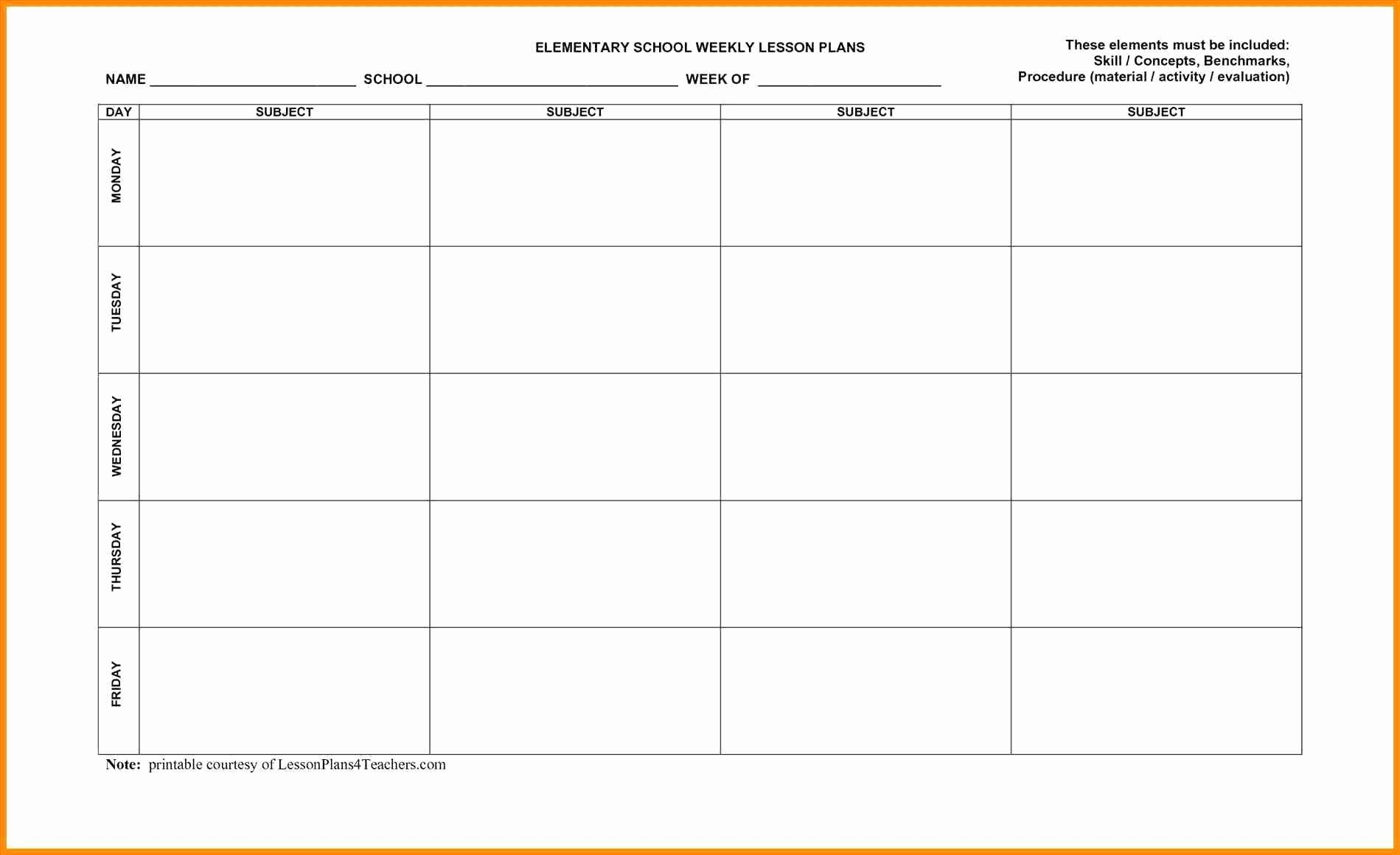 Free Weekly Lesson Plan Template Luxury Printable Weekly Lesson Plan Template Teacher Plan Book Template Weekly Lesson Plan Template Printable Lesson Plans Weekly lesson plan template elementary