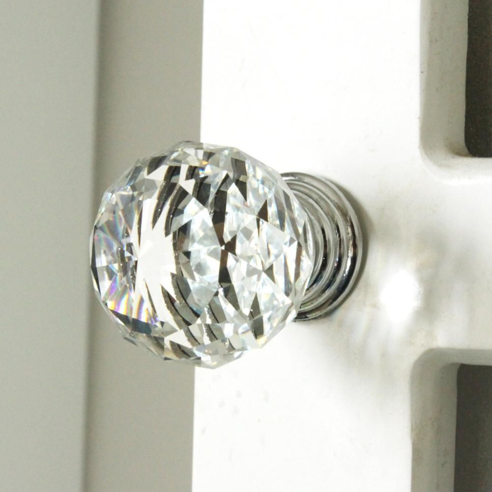 k9 clear crystal knob chrome glitter knob kitchen cabinet knobs handles dresser cupboard door handles home decoration hardware - Kitchen Knob And Handles