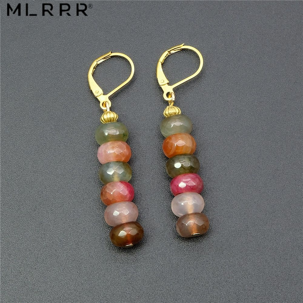 Photo of Vintage Natural Agates Stone Jewelry Simple Cute 58 Mm Tourmalines Agates Pendant Drop Earrings Metal Color Gold-color