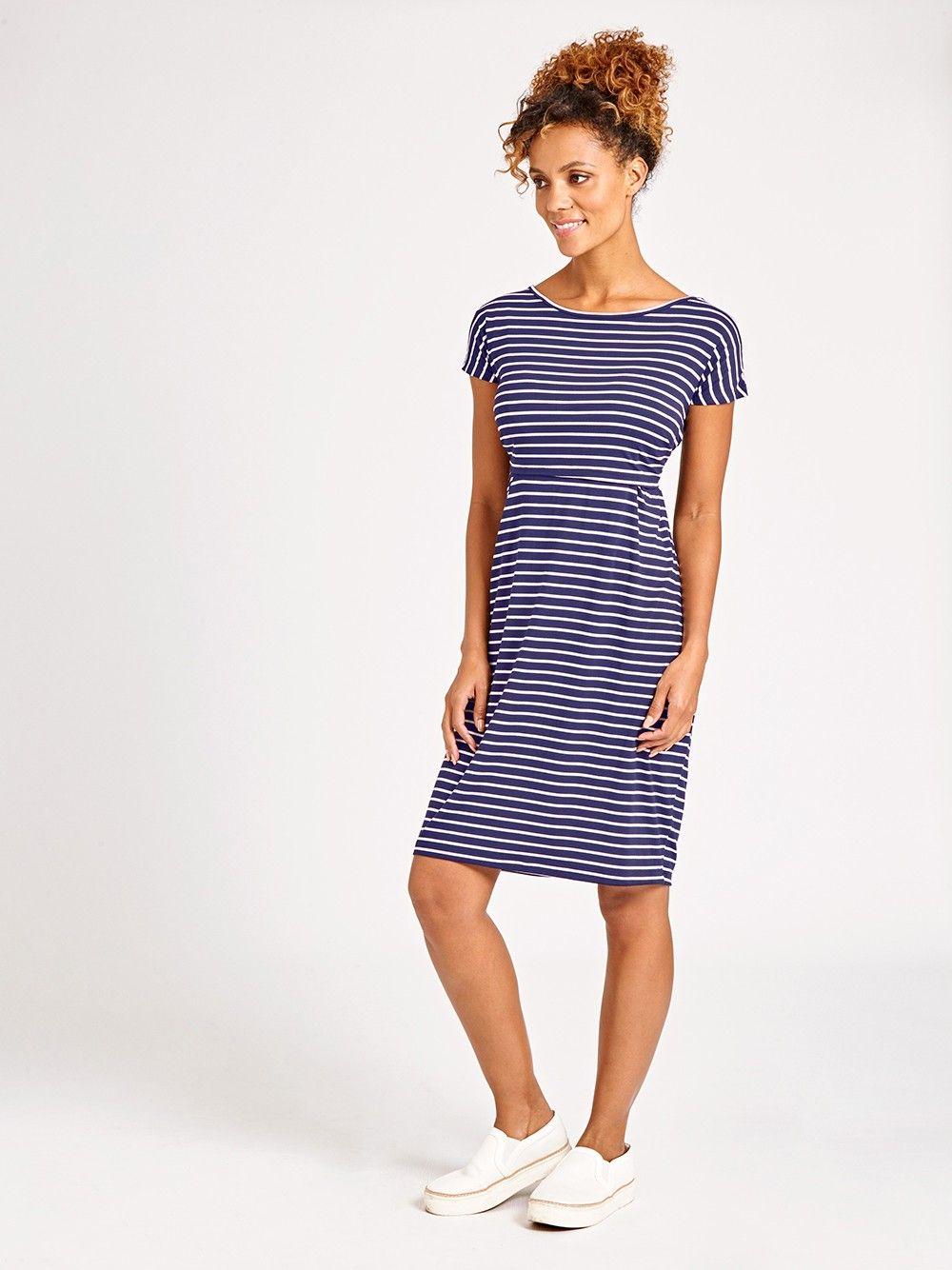 Breton Stripe Maternity & Nursing Shift Dress | JoJo Maman