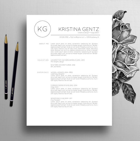 Resume Template / CV + Cover Letter by The Creative Resume on - Copy Editor Resume