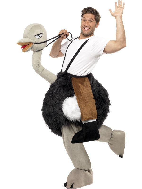 Piggyback Horse Costume Adults Animal Fancy Dress Outfit With Mock Legs