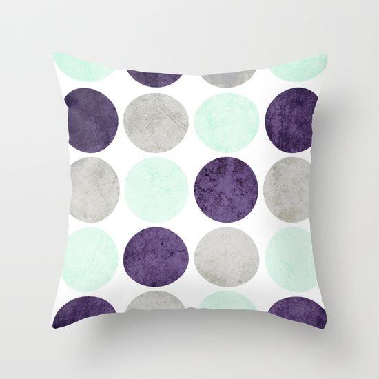 Circles Mint Purple Gray Throw Pillow By Dani Society6 Throw Pillows Grey Throw Pillows Pillows