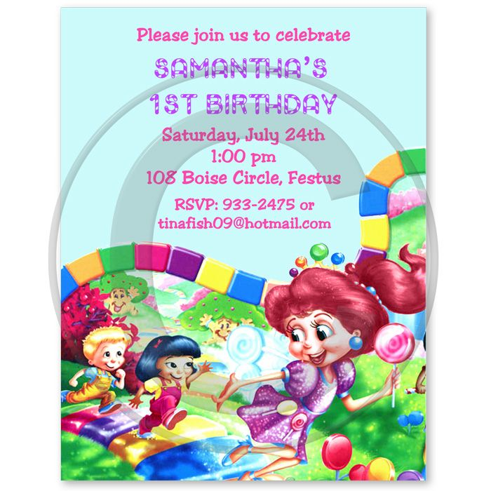 Candyland Birthday Party Invitations | party ideas | Pinterest ...