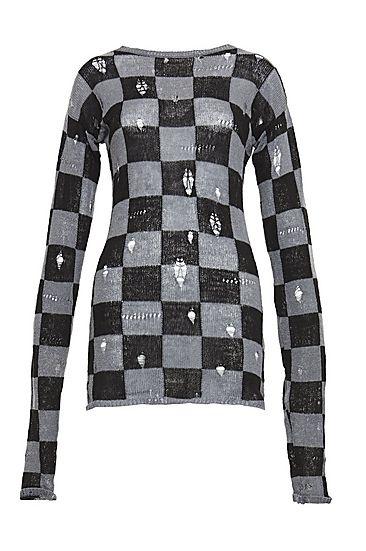 Irregular Check Sweater