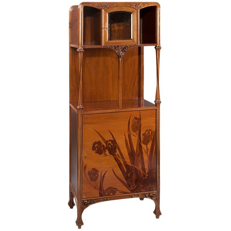 Louis Majorelle French Art Nouveau Marquetry Cabinet | From a unique collection of antique and modern vitrines at https://www.1stdibs.com/furniture/storage-case-pieces/vitrines/