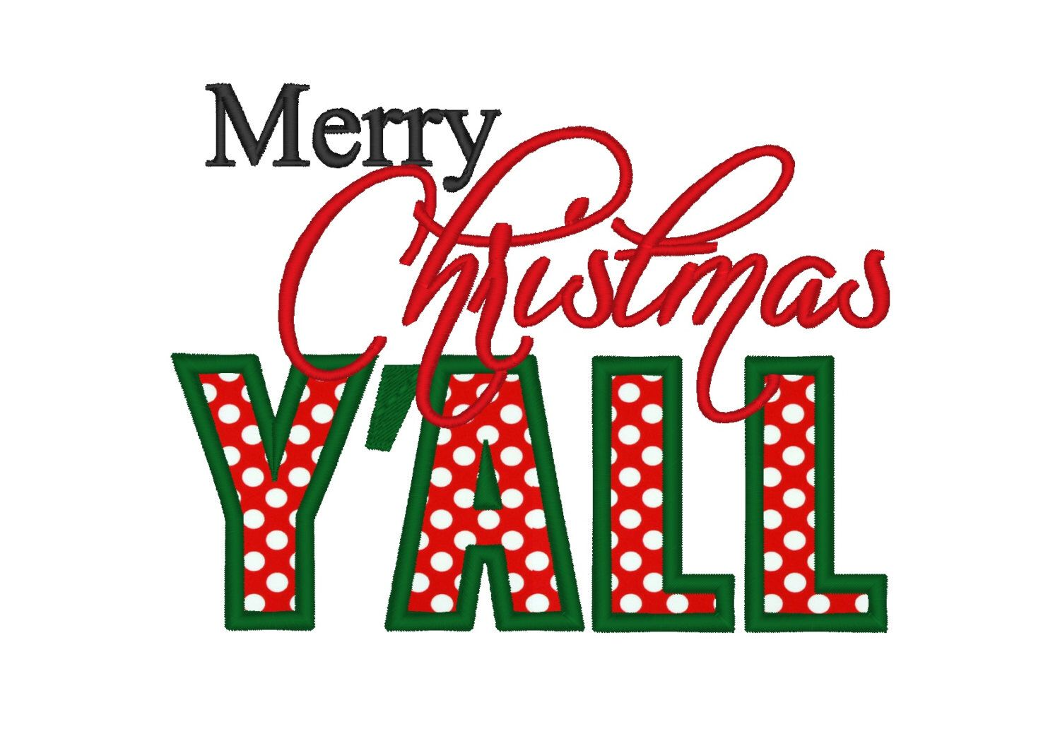 merry christmas yall applique instant download machine embroidery design digitized file 4x4