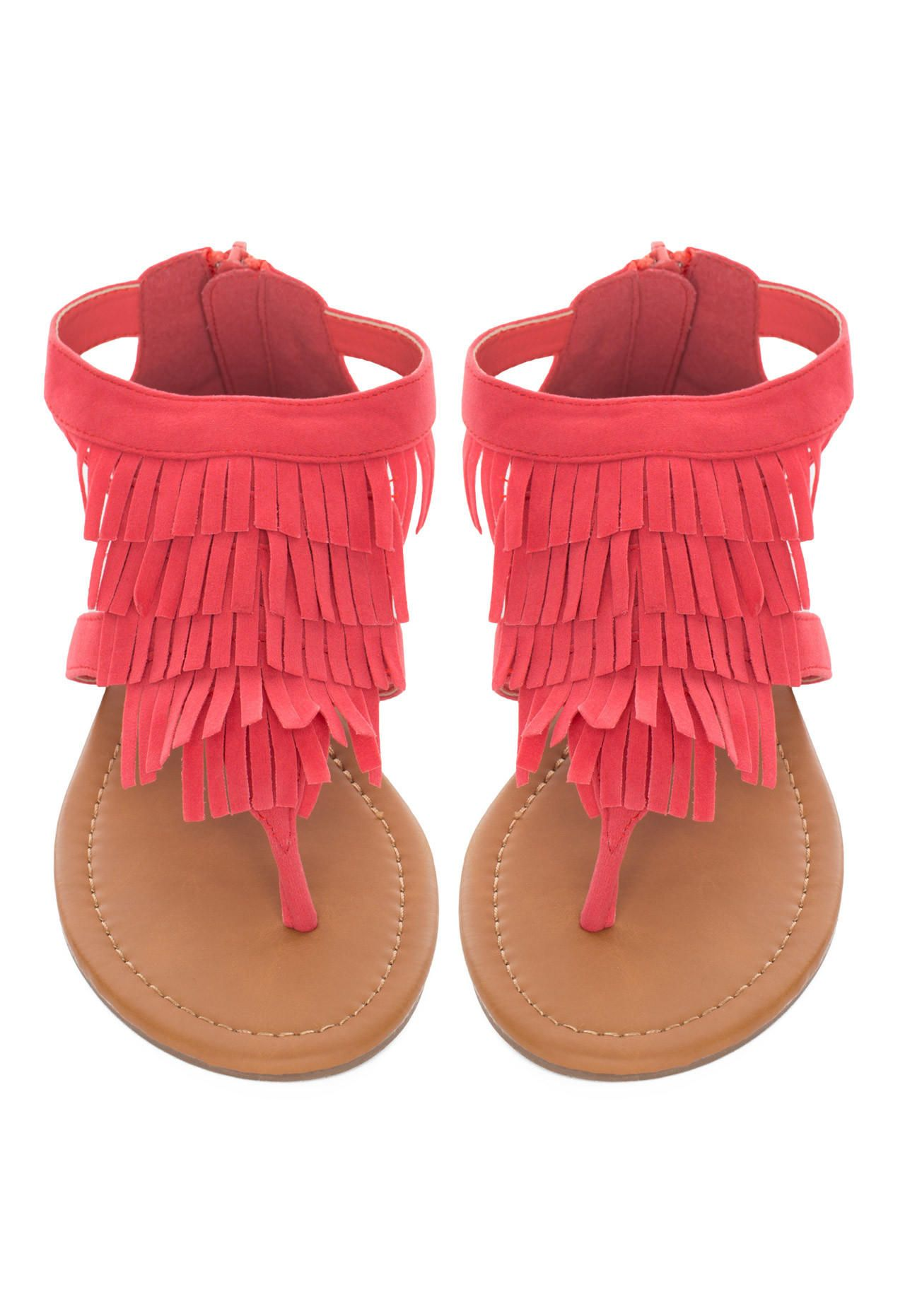 76065193853 Brisa Fringe Sandals - Coral from Shop Priceless. Saved to New Arrivals.  Shop more products from Shop Priceless on Wanelo.