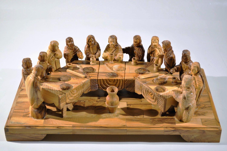 Wooden sculpture of last supper in nitra castle slovak republic