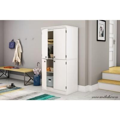 South S Furniture Morgan Wood Laminate Storage Cabinet With Shelves In Pure White 7260971 At