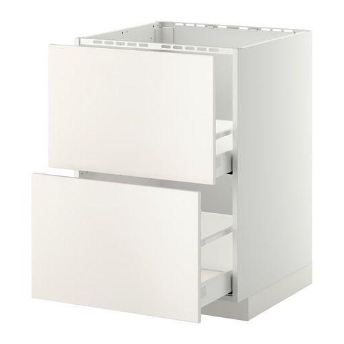 METOD / MAXIMERA Usk vask+2 fronter/2 skuffer, hvid, Veddinge hvid