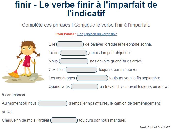 Le verbe finir à l'imparfait de l'indicatif. Exercice de français Cm1 | Exercice de francais cm1