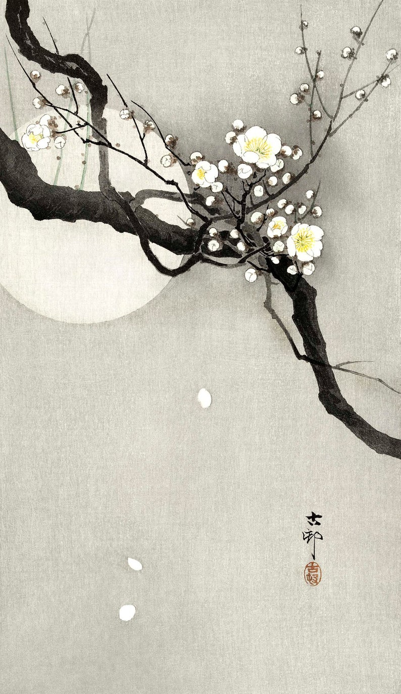 Blossom Branch Print Moon Art Print Minimalist Japanese Art Black And White Print Asian Wall Art Branch Blossoms Print Ohara Koson Moon Art Print Moon Art Plum Blossom Painting