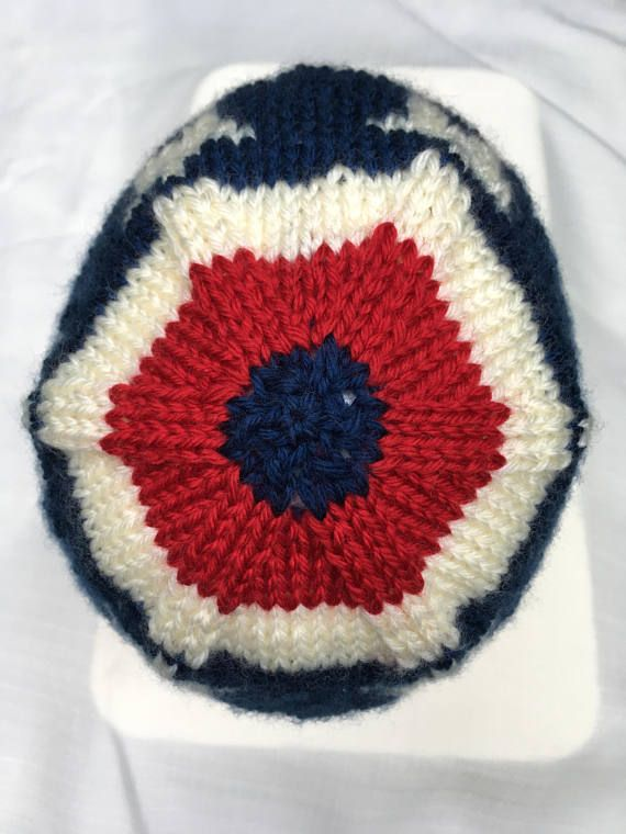1312b2ea13f Red white and blue beanie hand knit easy care cap for him or for her. Stars  and stripes for the 4th of July patriotic