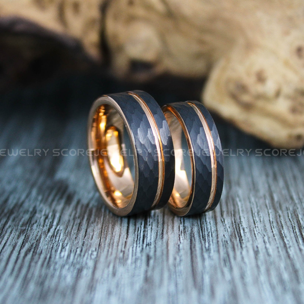 Hammered Rings Hammered Wedding Bands 2 Piece Couple Set Hammered Rings Black Wedding Black Tungsten Wedding Ring Hammered Wedding Rings Black Wedding Rings
