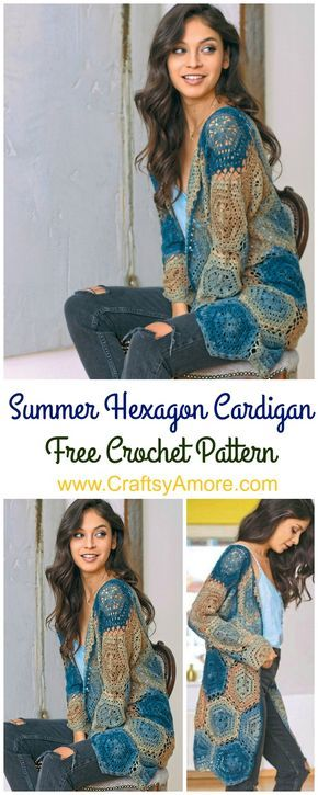 Crochet Summer Hexagon Cardigan Free Pattern | Ganchillo | Pinterest ...