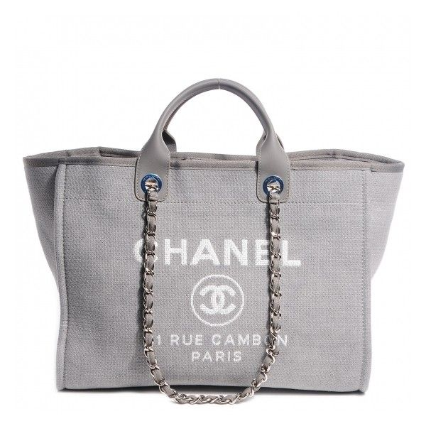 c0c970e7f353 CHANEL Canvas Deauville Large Tote Grey ❤ liked on Polyvore featuring bags,  handbags, tote bags, purses, chanel, borse, zippered tote, gray tote, tote  ...
