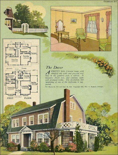 1924 William A Radford Dutch Colonial Revival Gambrel roof