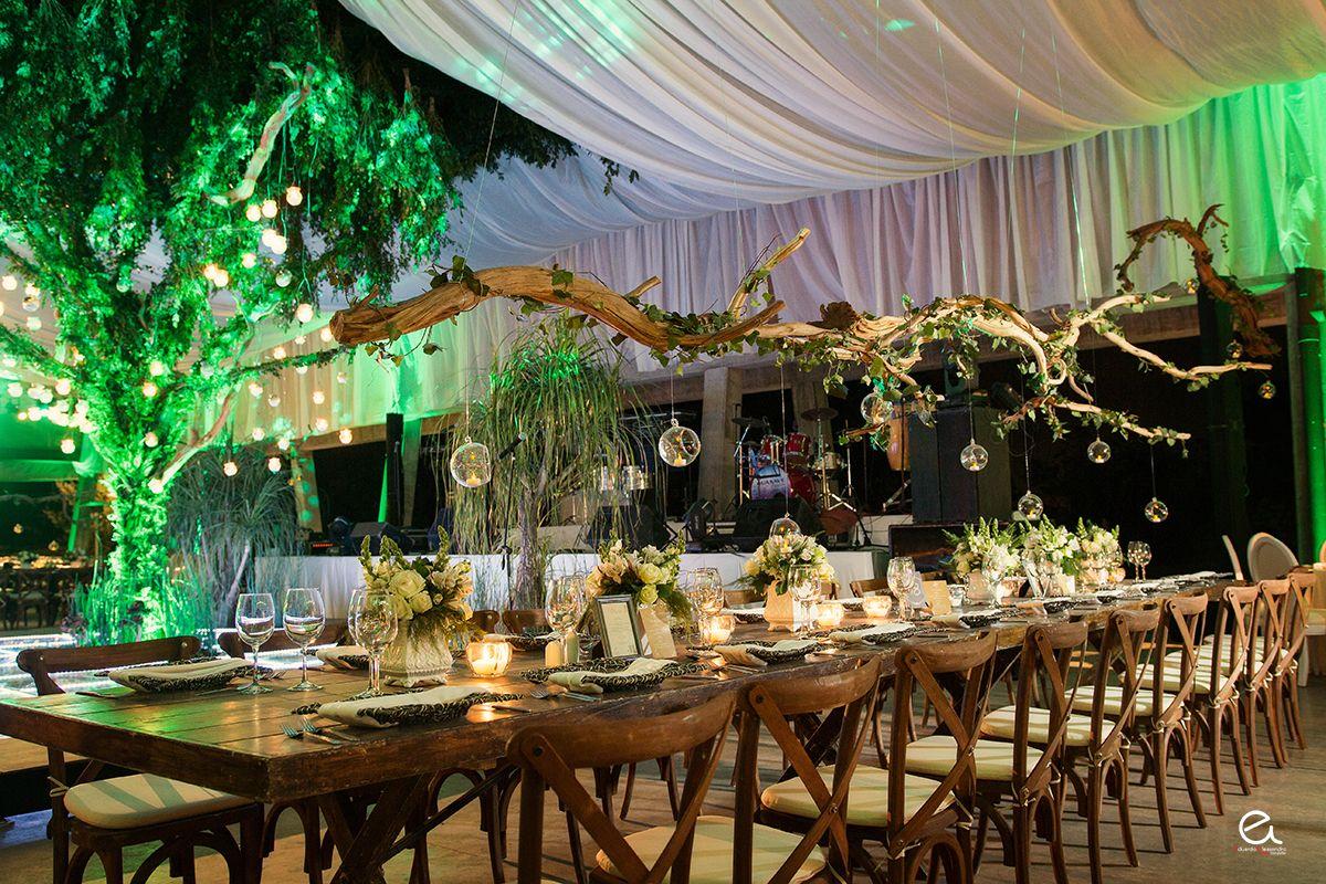 troncos verdes , mesas imperiales de madera