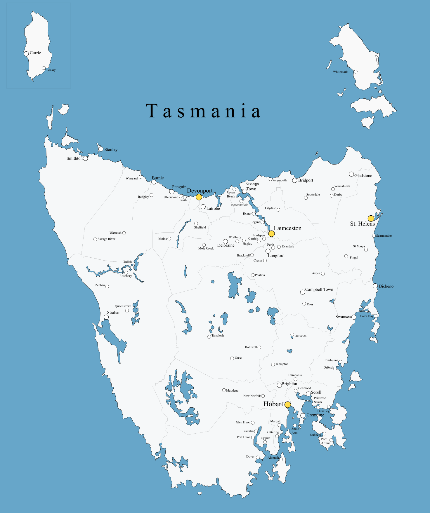 Australia Map With Cities And Towns.Cities And Towns Of Tasmania Maps Of Australia Australasia