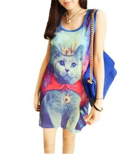 ELLAZHU Women Galaxy Prince Cat Graphic Print Sleeveless T-shirt Long Top Dress Onesize ELLAZHU,http://www.amazon.com/dp/B009F6XS2M/ref=cm_sw_r_pi_dp_PmCxrb7C02C84589