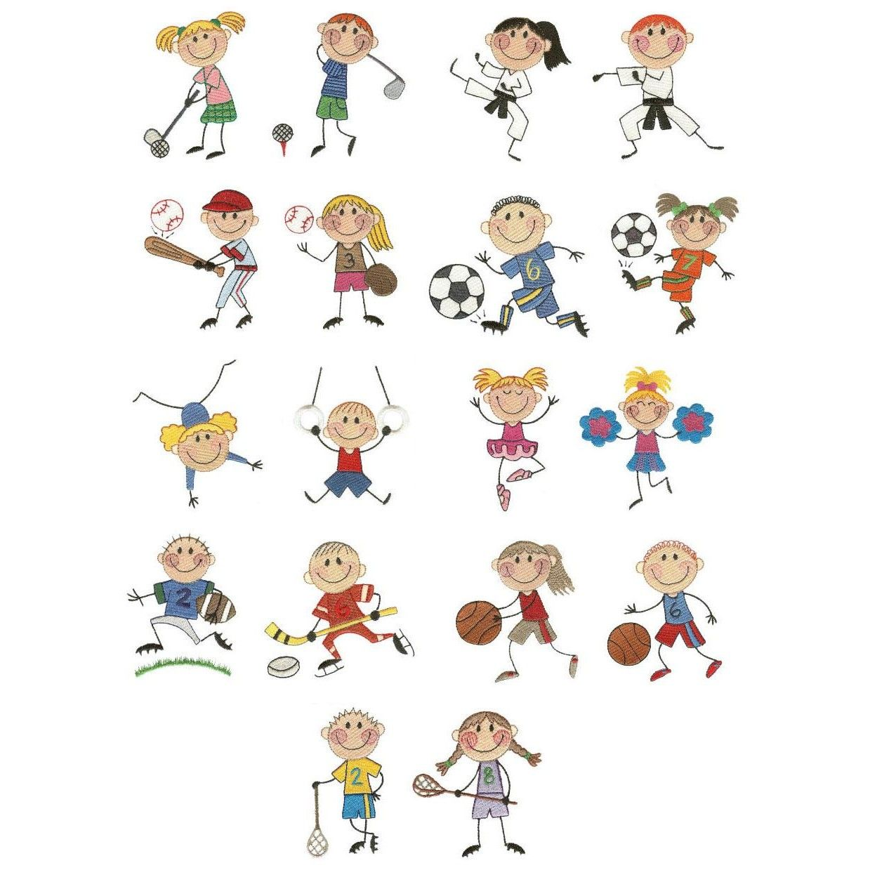 The Stix Kids Play Sports Machine embroidery, Embroidery