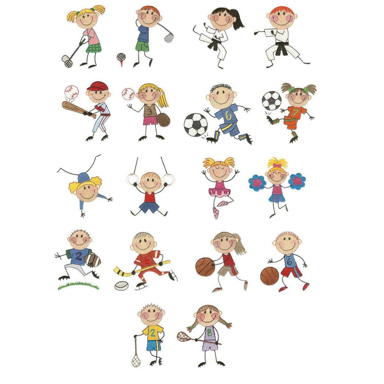 Stix kids sports filled machine embroidery designs